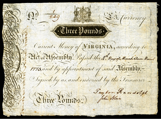 Colony of Virginia Three Pound Banknote