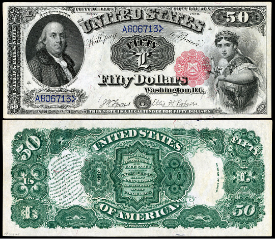 $50 United States Note featuring Benjamin Franklin and Liberty