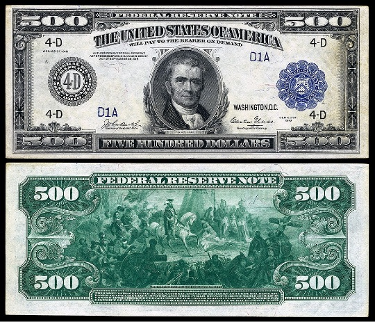 $500 Federal Reserve Note (Series 1918)