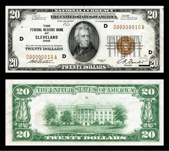 $20 Federal Reserve Bank Note (1929) depicting Andrew Jackson