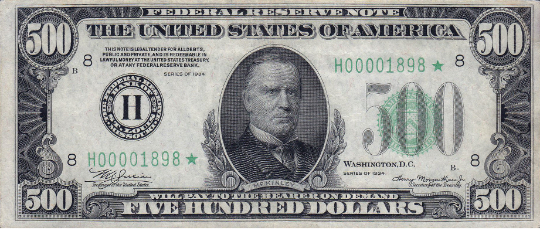 $500 Federal Reserve Note face (Series 1928)