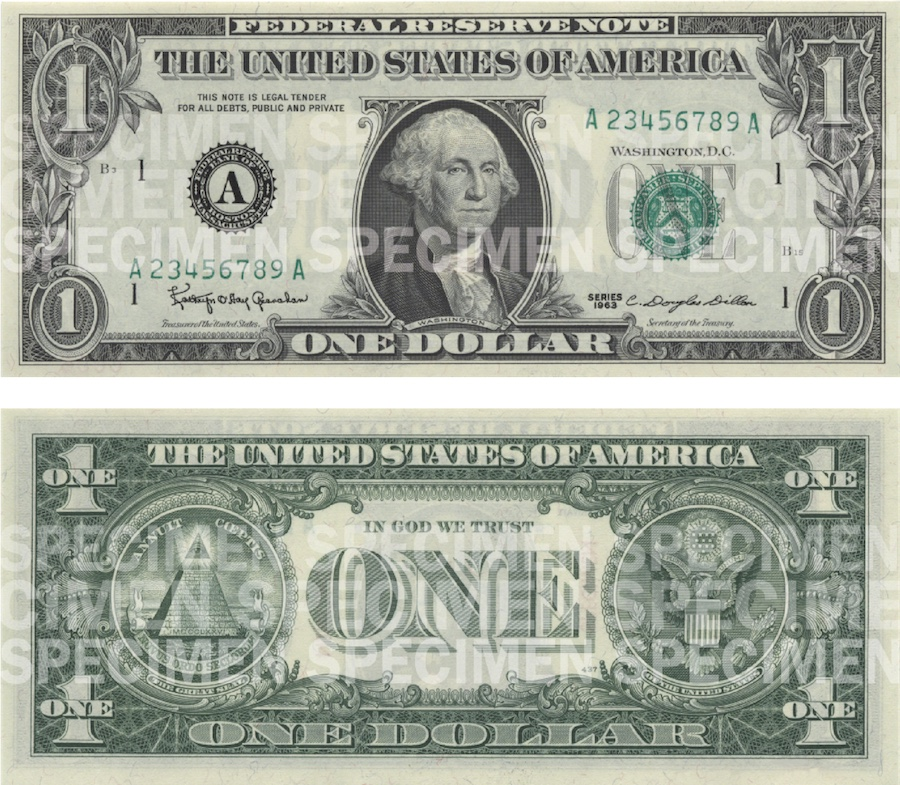 Photos showing a $1 bill front and back.