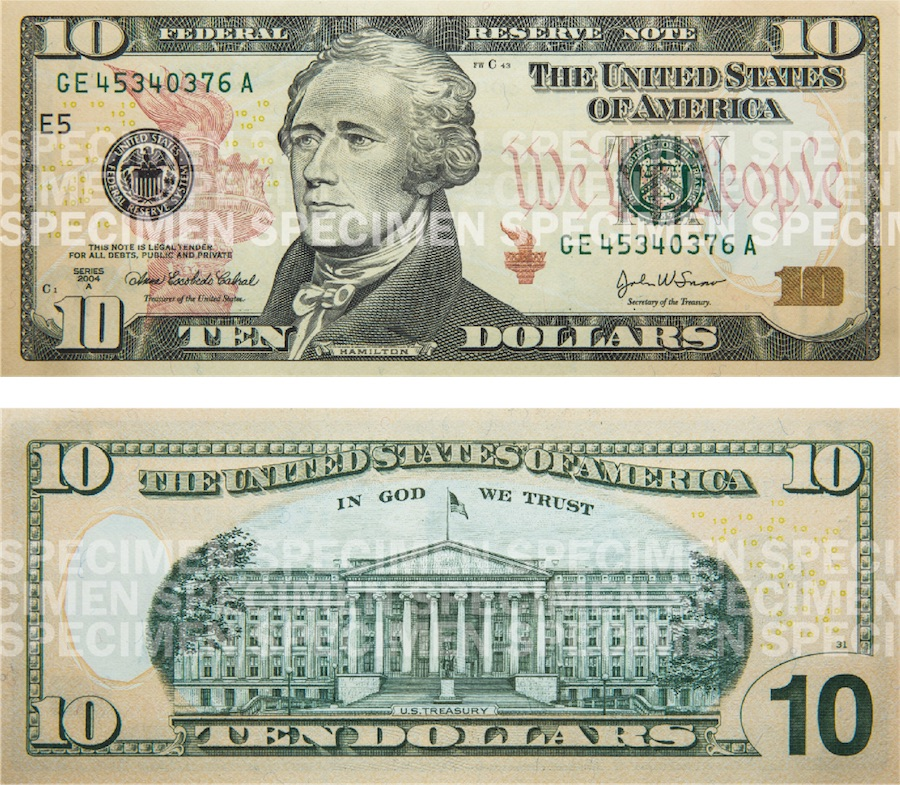 Photos showing a $10 bill front and back.