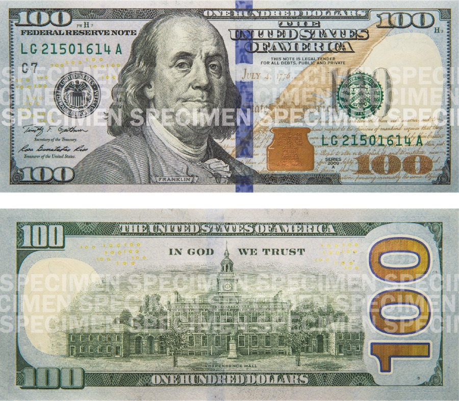Photos showing a $100 bill front and back.