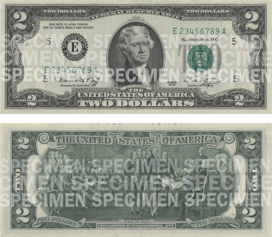 Photos showing a $2 bill front and back.