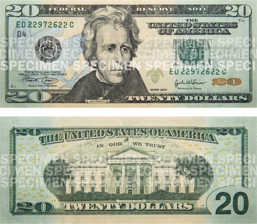 Photos showing a $20 bill front and back.