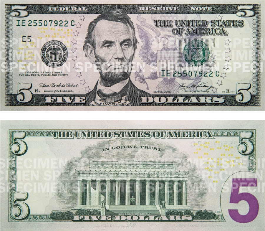 Photos showing a $5 bill front and back.