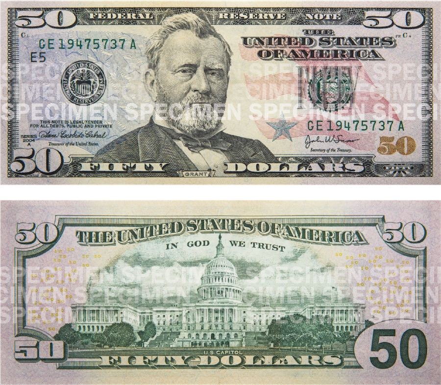 Photos showing a $50 bill front and back.