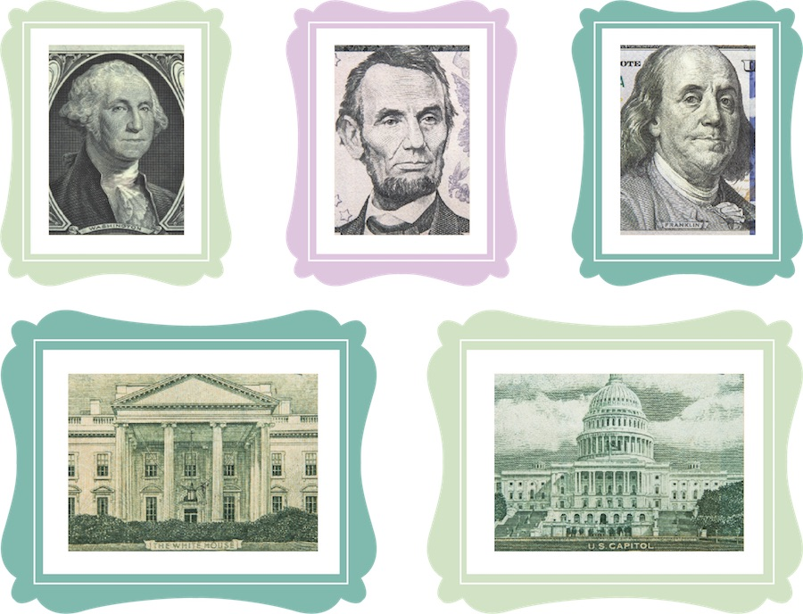 Three colorful picture frames containing close-up images from bill art depicting the portraits of George Washington, Abraham Lincoln, and Ben Franklin. Two picture frames below the portraits show the White House and Capital building.