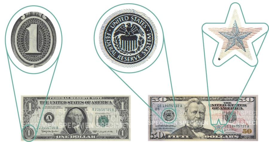 Sections of the $1 and $50 bills zoomed in to show ovals, stars, and circles in the art.