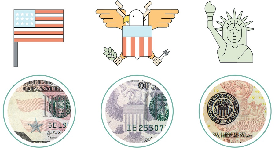 Five circles showing zoomed-in areas of bills that depict fine lines in the art.