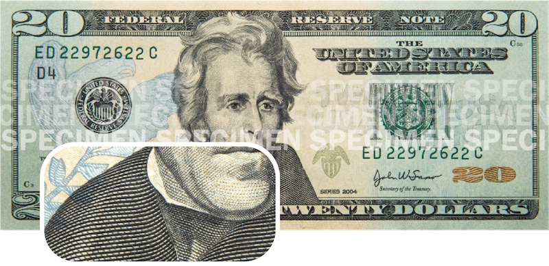 A $20 bill with a section zoomed-in to show the raised texture over the shoulder of Andrew Jackson's portrait.