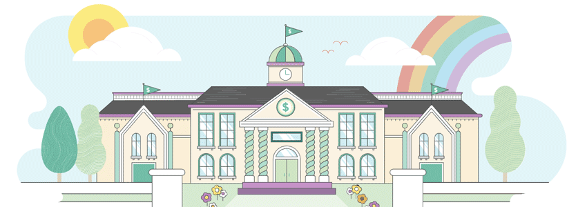 Brightly colored illustration of a classical style school building with a rainbow.