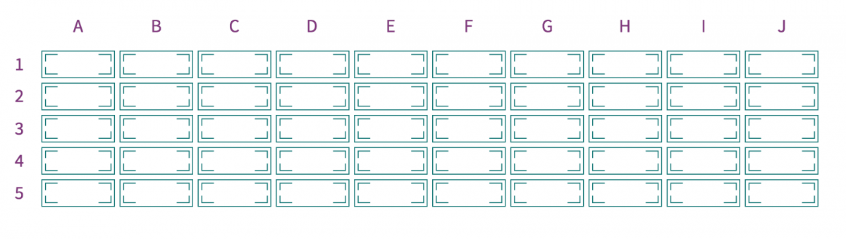 Illustration showing the arrangement of 50 notes on a printing plate.
