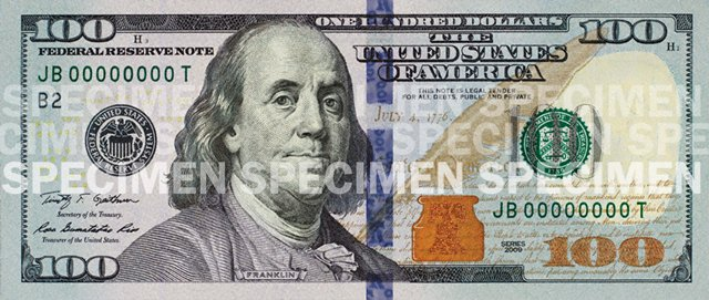 Front of the $100 Note