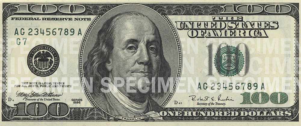 The front of the $100 note.