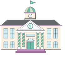 Illustration of front of school building.