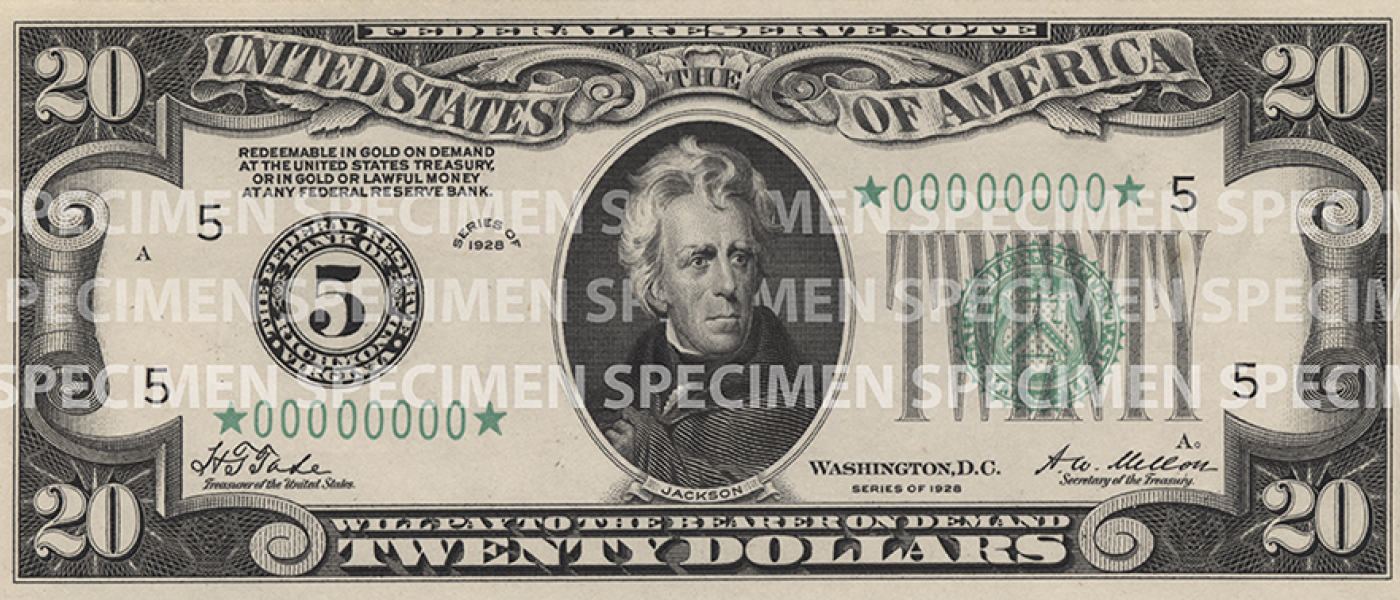 1928 - 1990 $20 bill front