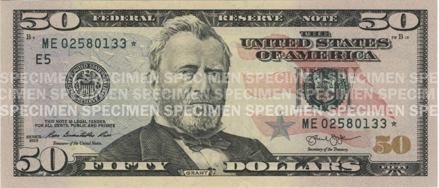 picture relating to Printable 100 Dollar Bill Actual Size identified as $50 Notice U.S. Forex Instruction Software program