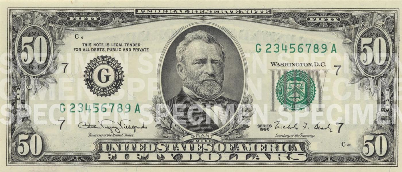 picture relating to Printable Realistic Money titled $50 Be aware U.S. Forex Schooling Computer software