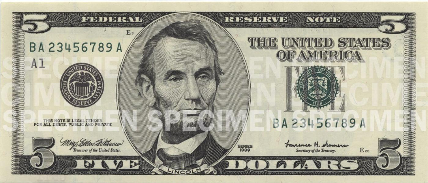 photograph about Printable 100 Dollar Bill Actual Size known as $5 Observe U.S. Forex Instruction Software package