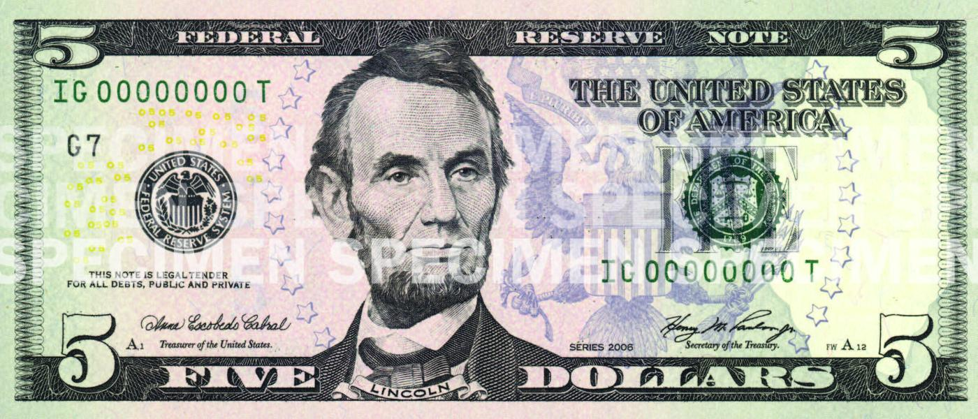 image relating to Printable Play Money $1 named $5 Notice U.S. Forex Instruction Software program