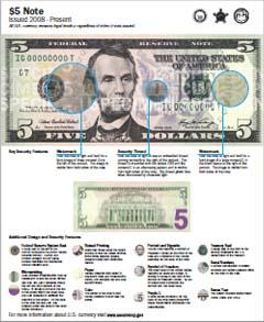 $5 Note | U S  Currency Education Program