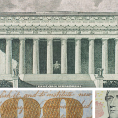 Crop of the Lincoln Memorial steps on the $100 note.