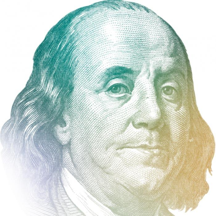 Watermark image of Benjamin Franklin's face, where the ink shifts in color from blue to green to yellow as you move from left to right.