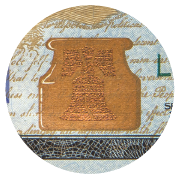 A copper inkwell with copper bell within, on the bottom of the $100 bill.