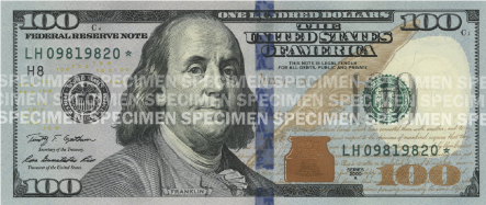 The front of a $100 bill, flat.