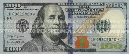 The front of a $100 bill, tilted backwards.