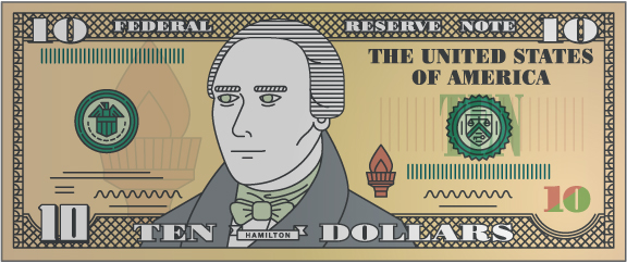 $10 bill with magnifying glass over numeral 10 on right side of bill