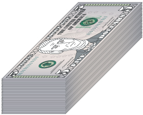 stack of $5 bills
